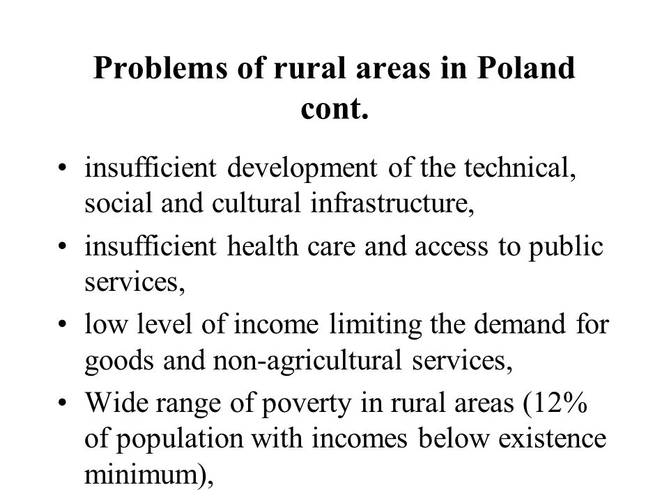 Problems of rural areas in Poland cont.