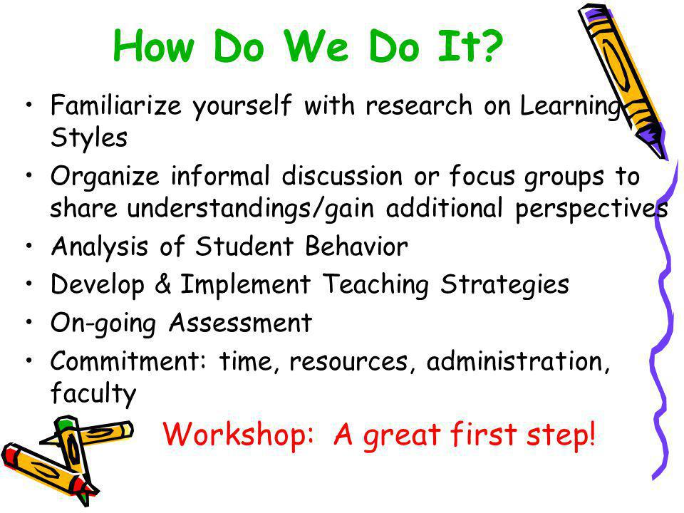 Familiarize yourself with research on Learning Styles Organize informal discussion or focus groups to share understandings/gain additional perspectives Analysis of Student Behavior Develop & Implement Teaching Strategies On-going Assessment Commitment: time, resources, administration, faculty Workshop: A great first step.
