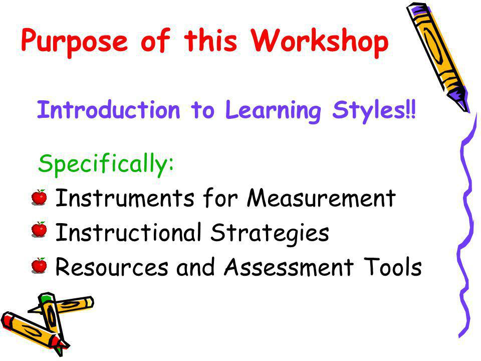 Purpose of this Workshop Introduction to Learning Styles!.