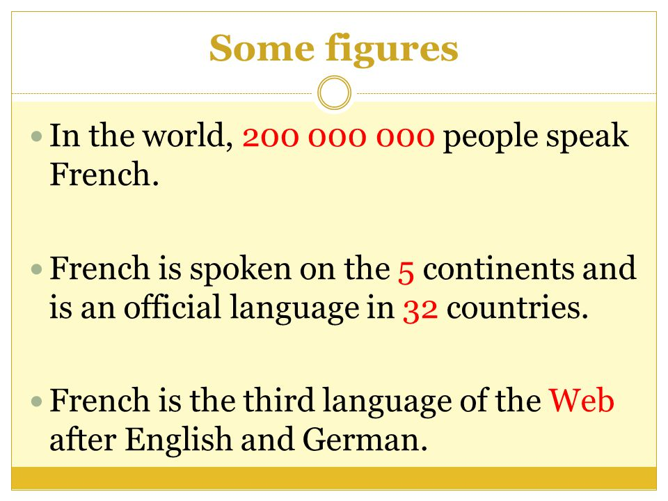 Some figures In the world, 200 000 000 people speak French.