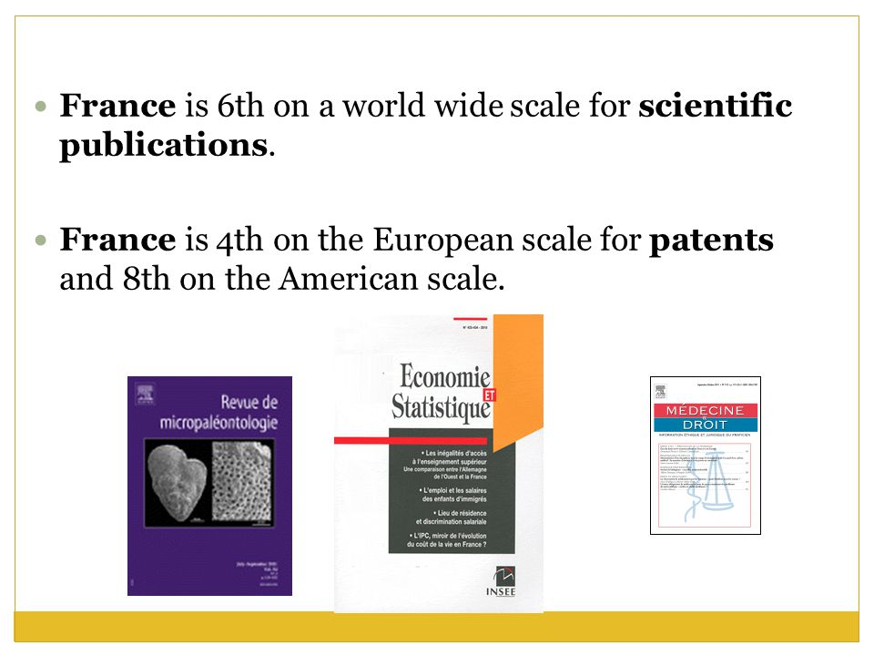 France is 6th on a world wide scale for scientific publications.