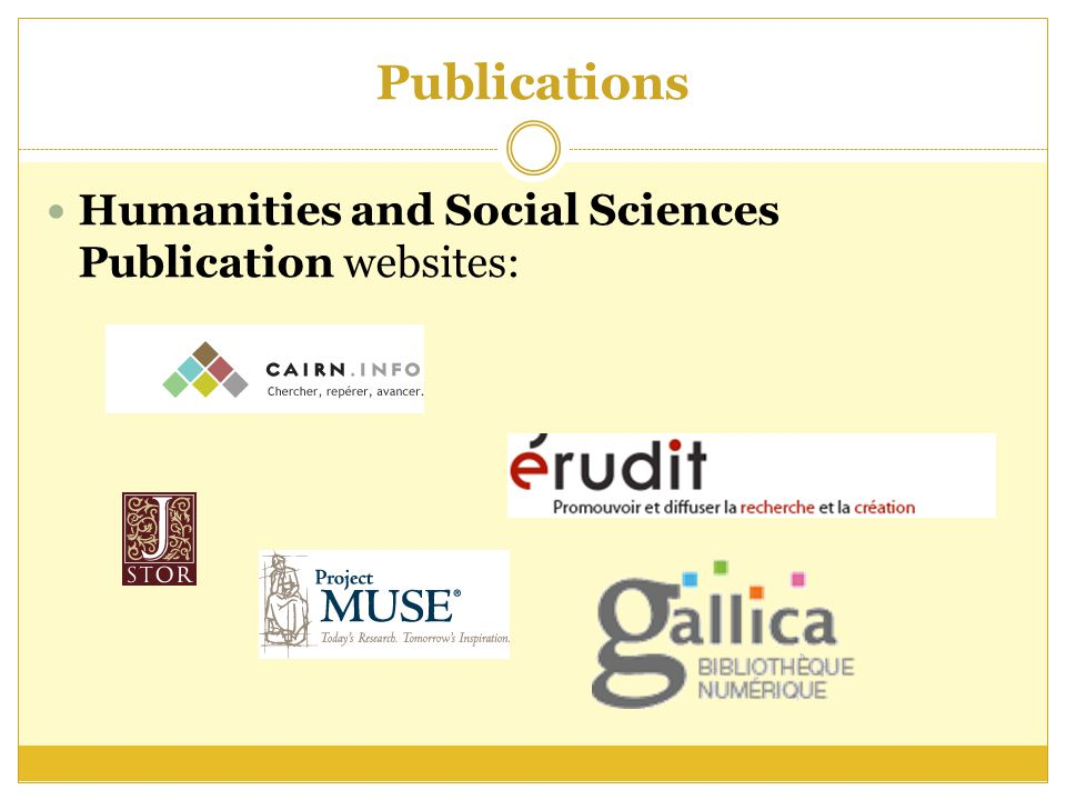 Publications Humanities and Social Sciences Publication websites: