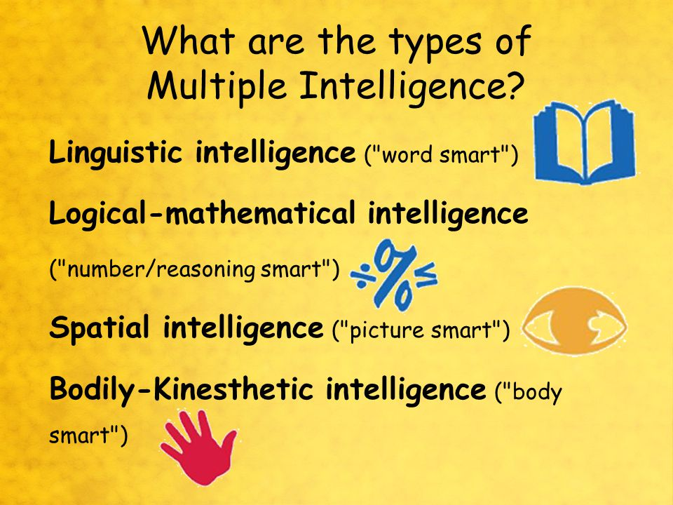 What is Multiple Intelligence Different ways to demonstrate intellectual ability.