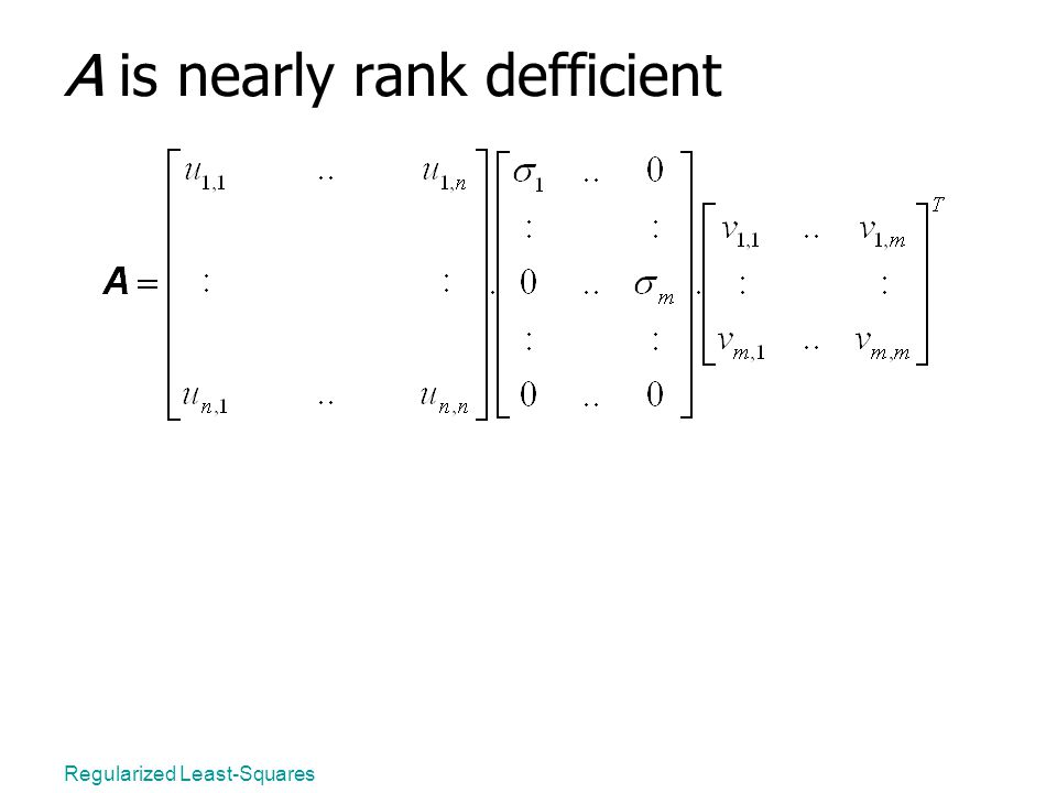 Regularized Least-Squares A is nearly rank defficient