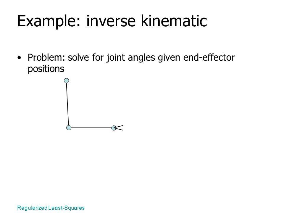 Regularized Least-Squares Example: inverse kinematic Problem: solve for joint angles given end-effector positions