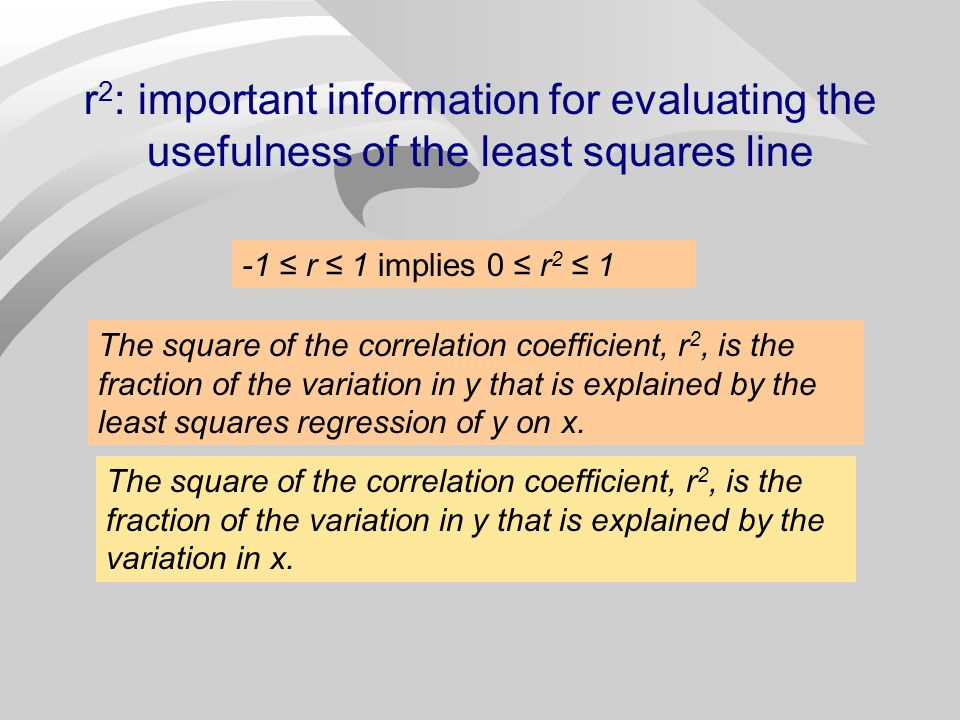 r 2 : The Variation Accounted For n The square of the correlation coefficient r gives important information about the usefulness of the least squares line