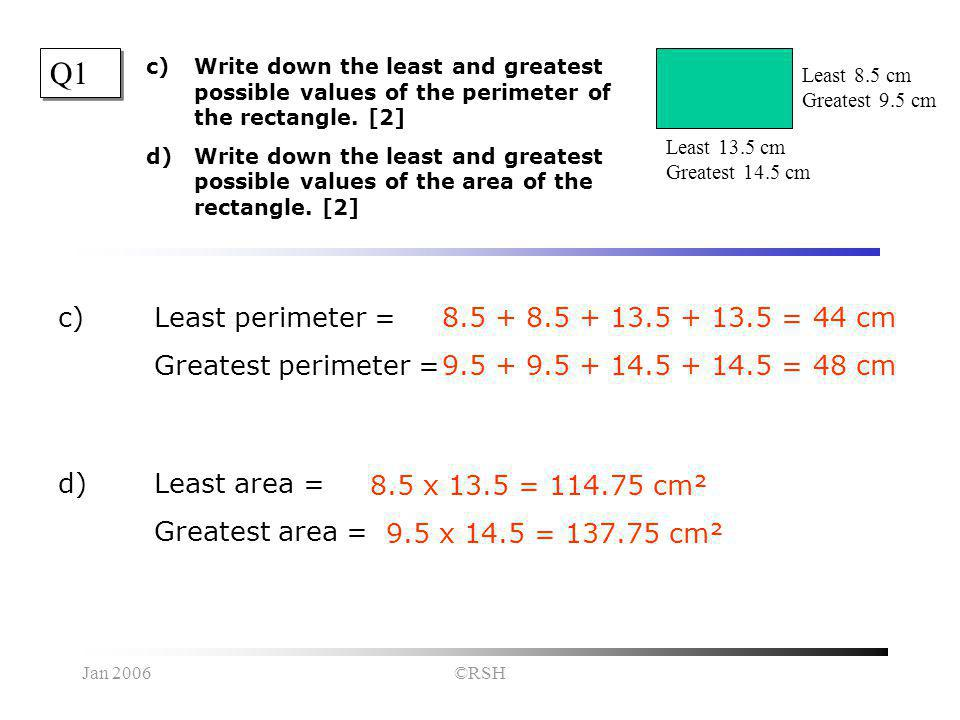 Jan 2006©RSH Q1 c)Write down the least and greatest possible values of the perimeter of the rectangle.
