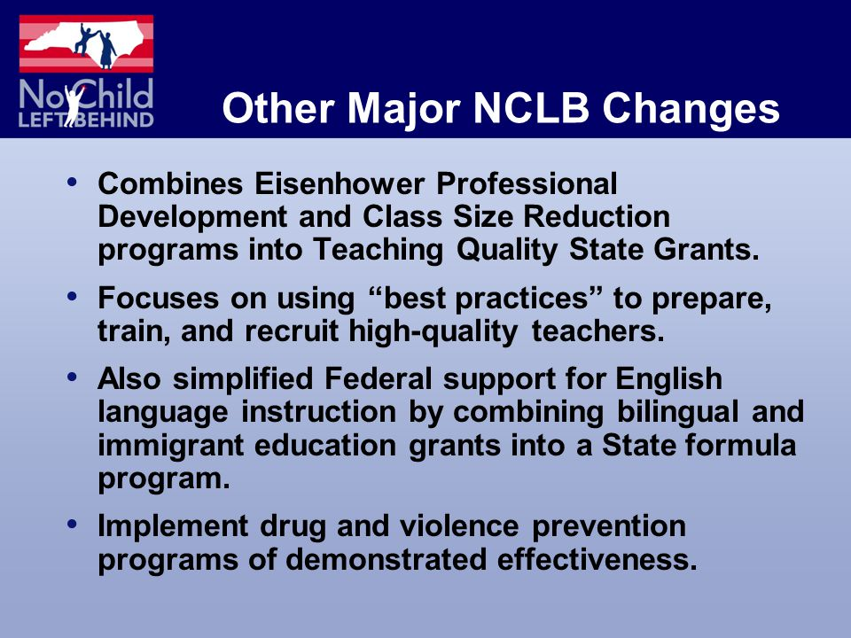 Other Major NCLB Changes Combines Eisenhower Professional Development and Class Size Reduction programs into Teaching Quality State Grants.
