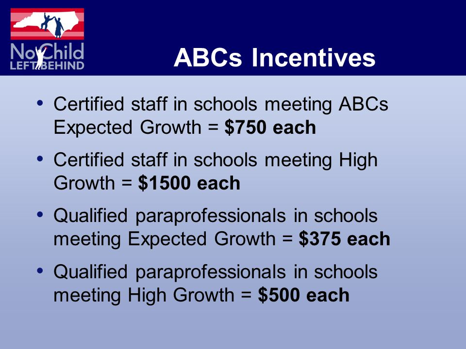ABCs Incentives Certified staff in schools meeting ABCs Expected Growth = $750 each Certified staff in schools meeting High Growth = $1500 each Qualified paraprofessionals in schools meeting Expected Growth = $375 each Qualified paraprofessionals in schools meeting High Growth = $500 each