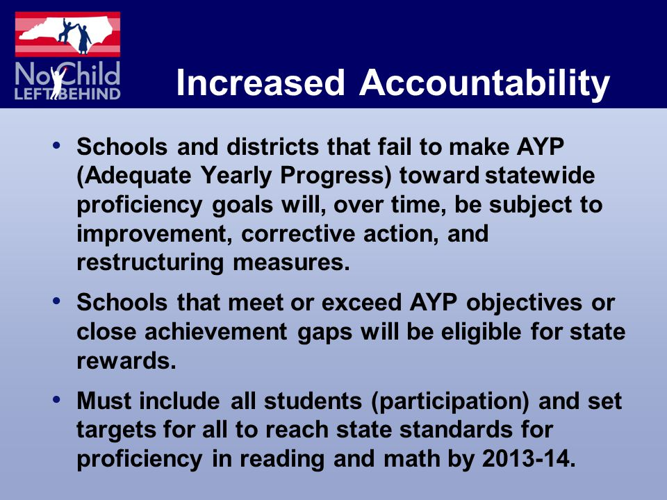 Increased Accountability Schools and districts that fail to make AYP (Adequate Yearly Progress) toward statewide proficiency goals will, over time, be subject to improvement, corrective action, and restructuring measures.