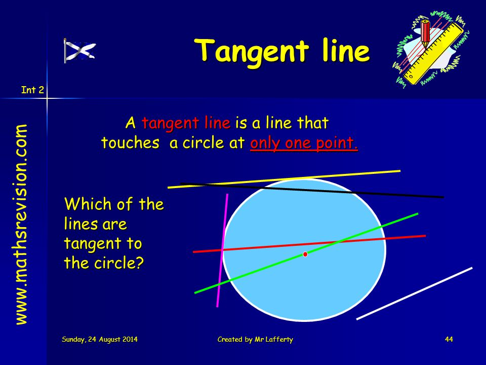 Int 2 Sunday, 24 August 2014Sunday, 24 August 2014Sunday, 24 August 2014Sunday, 24 August 2014Created by Mr Lafferty44 Tangent line A tangent line is a line that touches a circle at only one point.
