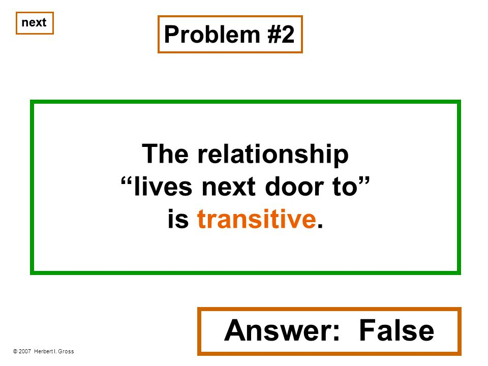 The relationship lives next door to is transitive.