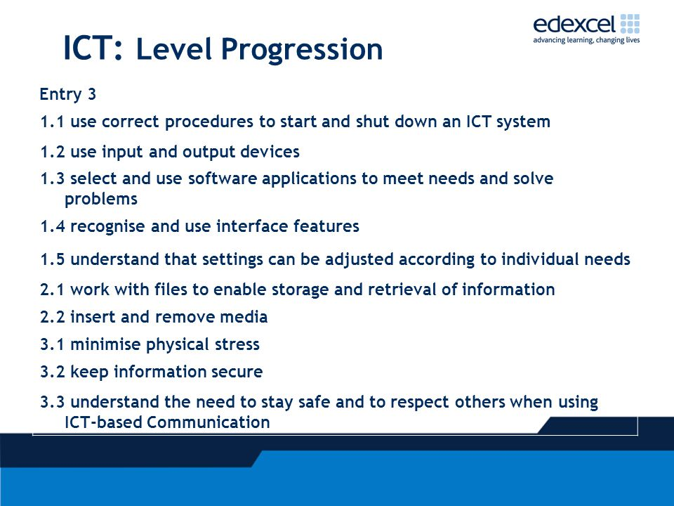 ICT: Level Progression Entry 3 1.1 use correct procedures to start and shut down an ICT system 1.2 use input and output devices 1.3 select and use software applications to meet needs and solve problems 1.4 recognise and use interface features 1.5 understand that settings can be adjusted according to individual needs 2.1 work with files to enable storage and retrieval of information 2.2 insert and remove media 3.1 minimise physical stress 3.2 keep information secure 3.3 understand the need to stay safe and to respect others when using ICT-based Communication