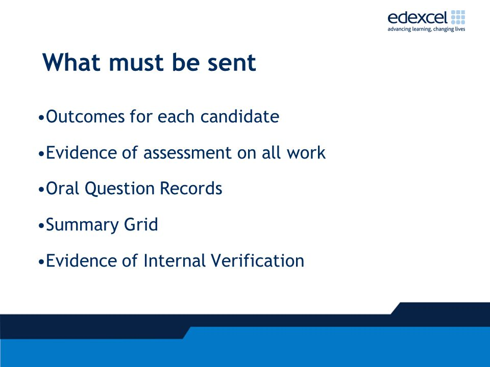 What must be sent Outcomes for each candidate Evidence of assessment on all work Oral Question Records Summary Grid Evidence of Internal Verification