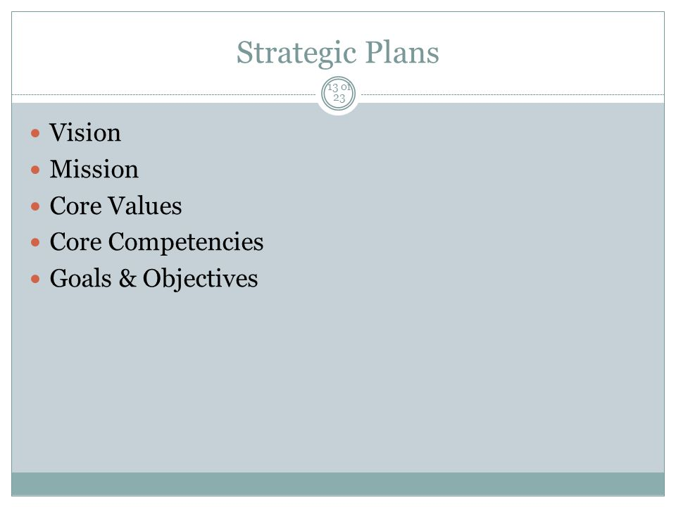 Strategic Plans Vision Mission Core Values Core Competencies Goals & Objectives 13 of 23