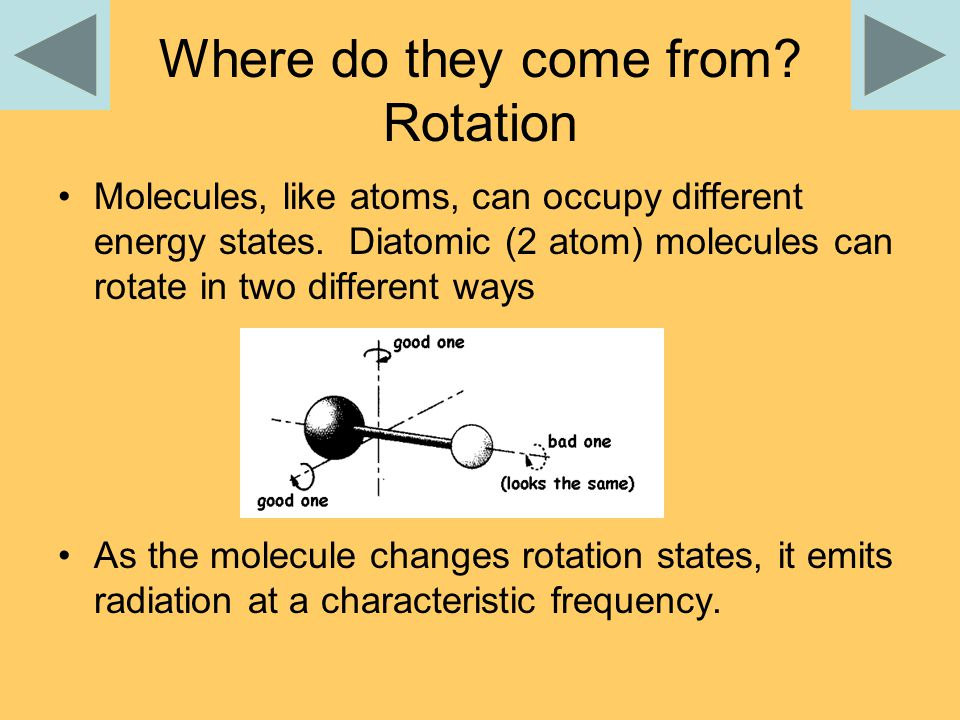 Where do they come from. Rotation Molecules, like atoms, can occupy different energy states.