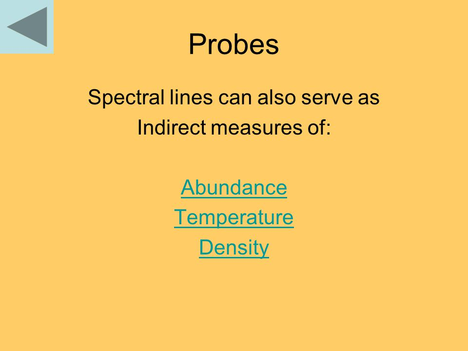 Probes Spectral lines can also serve as Indirect measures of: Abundance Temperature Density