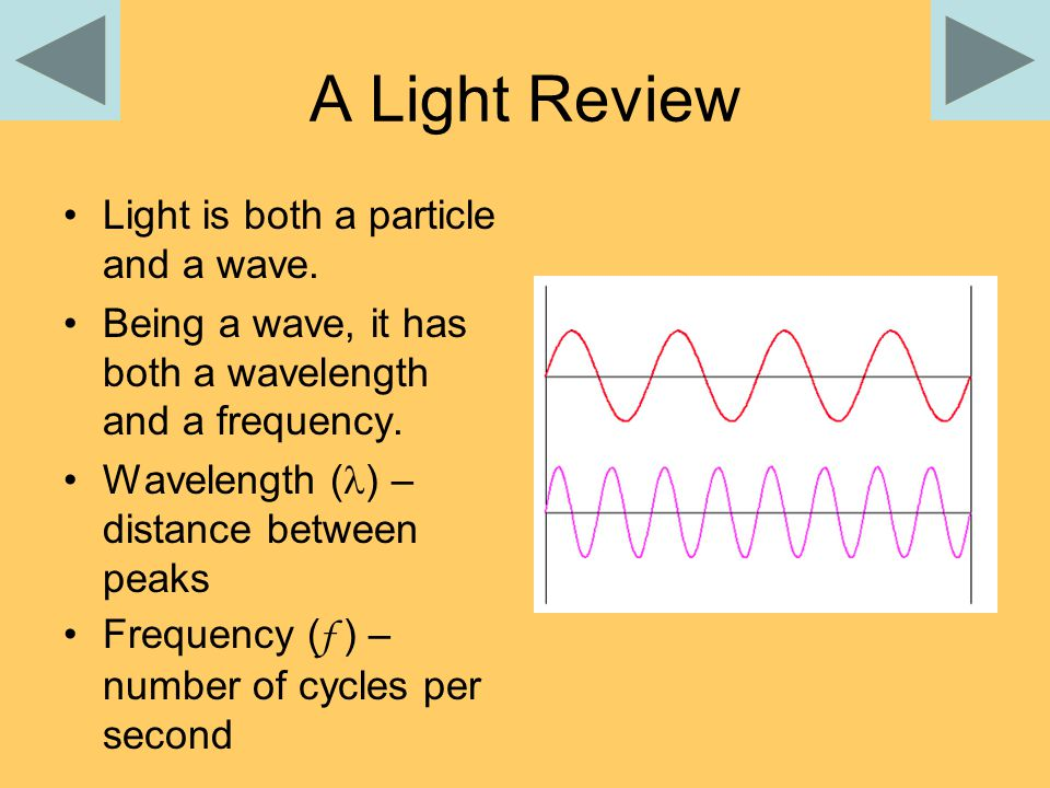 A Light Review Light is both a particle and a wave.
