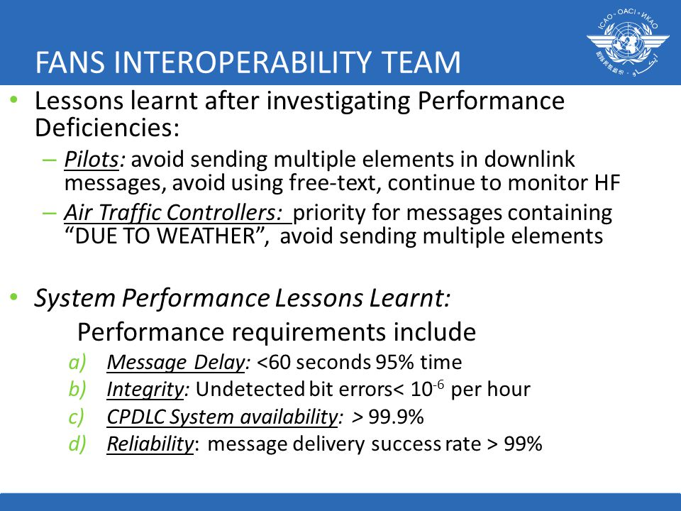 FANS INTEROPERABILITY TEAM Lessons learnt after investigating Performance Deficiencies: – Pilots: avoid sending multiple elements in downlink messages, avoid using free-text, continue to monitor HF – Air Traffic Controllers: priority for messages containing DUE TO WEATHER , avoid sending multiple elements System Performance Lessons Learnt: Performance requirements include a)Message Delay: <60 seconds 95% time b)Integrity: Undetected bit errors< 10 -6 per hour c)CPDLC System availability: > 99.9% d)Reliability: message delivery success rate > 99%