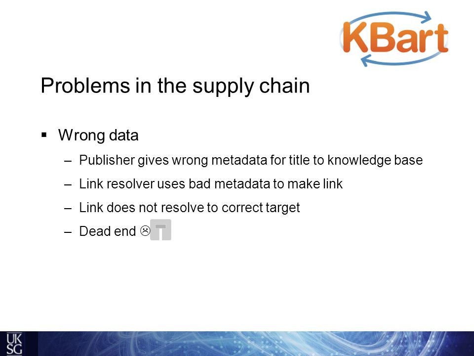 Problems in the supply chain  Wrong data –Publisher gives wrong metadata for title to knowledge base –Link resolver uses bad metadata to make link –Link does not resolve to correct target –Dead end 