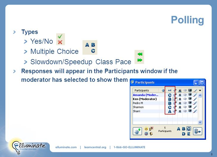 8 Polling Types Yes/No Multiple Choice Slowdown/Speedup Class Pace Responses will appear in the Participants window if the moderator has selected to show them