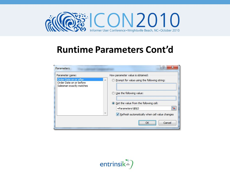 Runtime Parameters Cont'd