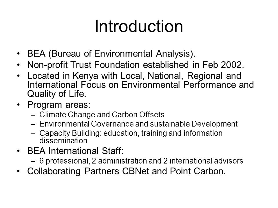 Introduction BEA (Bureau of Environmental Analysis).