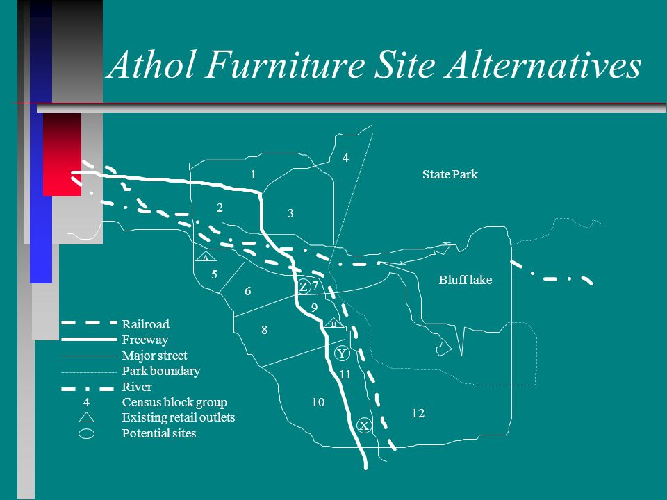 Athol Furniture Site Alternatives 1 2 3 4 7 5 6 8 9 10 11 12 Bluff lake State Park A B Z Y X Railroad Freeway Major street Park boundary River Census block group Existing retail outlets Potential sites 4