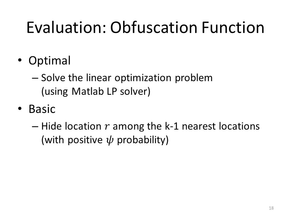 Evaluation: Obfuscation Function 18