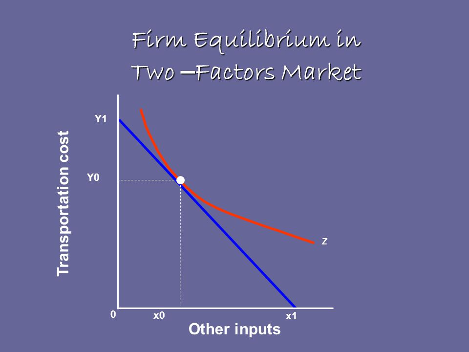 Firm Equilibrium in Two – Factors Market x1 Other inputs Transportation cost x0 Z Y0 Y1 0