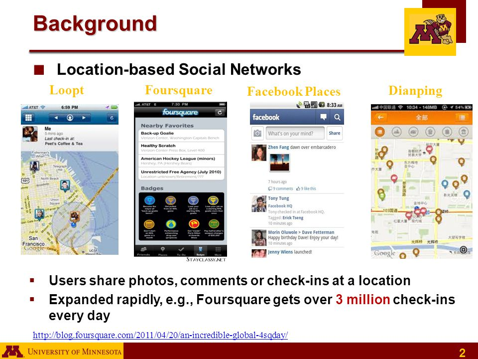 2 Background ■ Location-based Social Networks Facebook Places Loopt Dianping Foursquare  Users share photos, comments or check-ins at a location  Expanded rapidly, e.g., Foursquare gets over 3 million check-ins every day http://blog.foursquare.com/2011/04/20/an-incredible-global-4sqday/