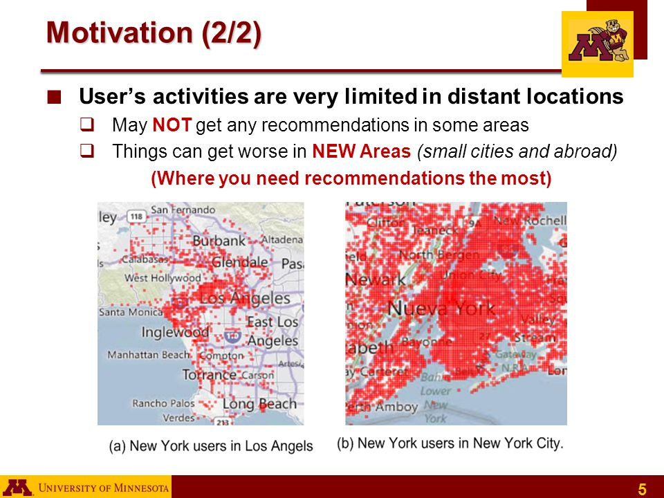 5 Motivation (2/2) ■ User's activities are very limited in distant locations  May NOT get any recommendations in some areas  Things can get worse in NEW Areas (small cities and abroad) (Where you need recommendations the most)