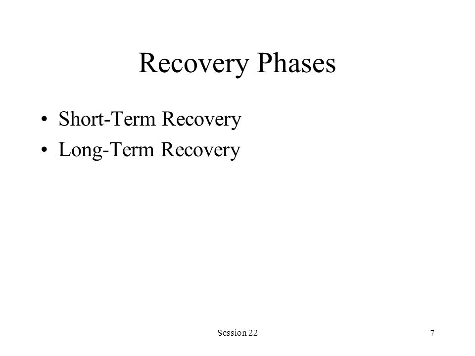Session 227 Recovery Phases Short-Term Recovery Long-Term Recovery