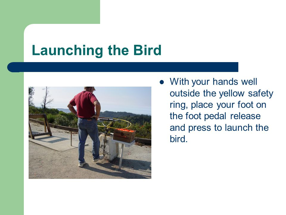 Launching the Bird With your hands well outside the yellow safety ring, place your foot on the foot pedal release and press to launch the bird.