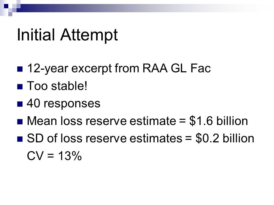 Initial Attempt 12-year excerpt from RAA GL Fac Too stable.