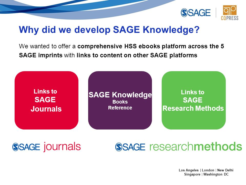 Los Angeles | London | New Delhi Singapore | Washington DC Links to SAGE Journals SAGE Knowledge Books Reference Links to SAGE Research Methods Why did we develop SAGE Knowledge.
