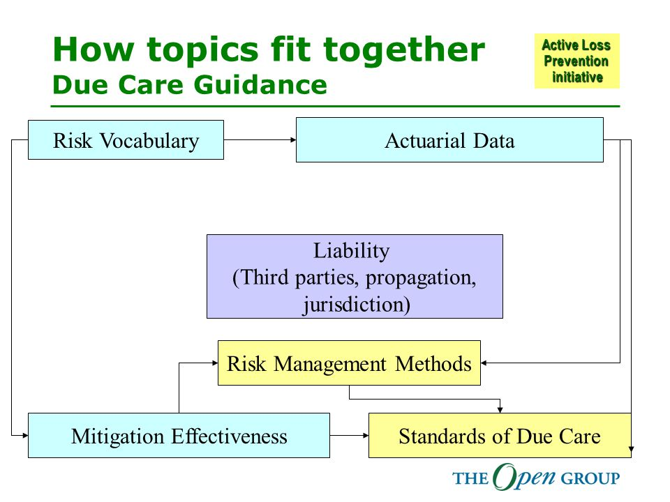 Active Loss Prevention initiative How topics fit together Due Care Guidance Mitigation Effectiveness Actuarial Data Risk Vocabulary Standards of Due Care Risk Management Methods Liability (Third parties, propagation, jurisdiction)