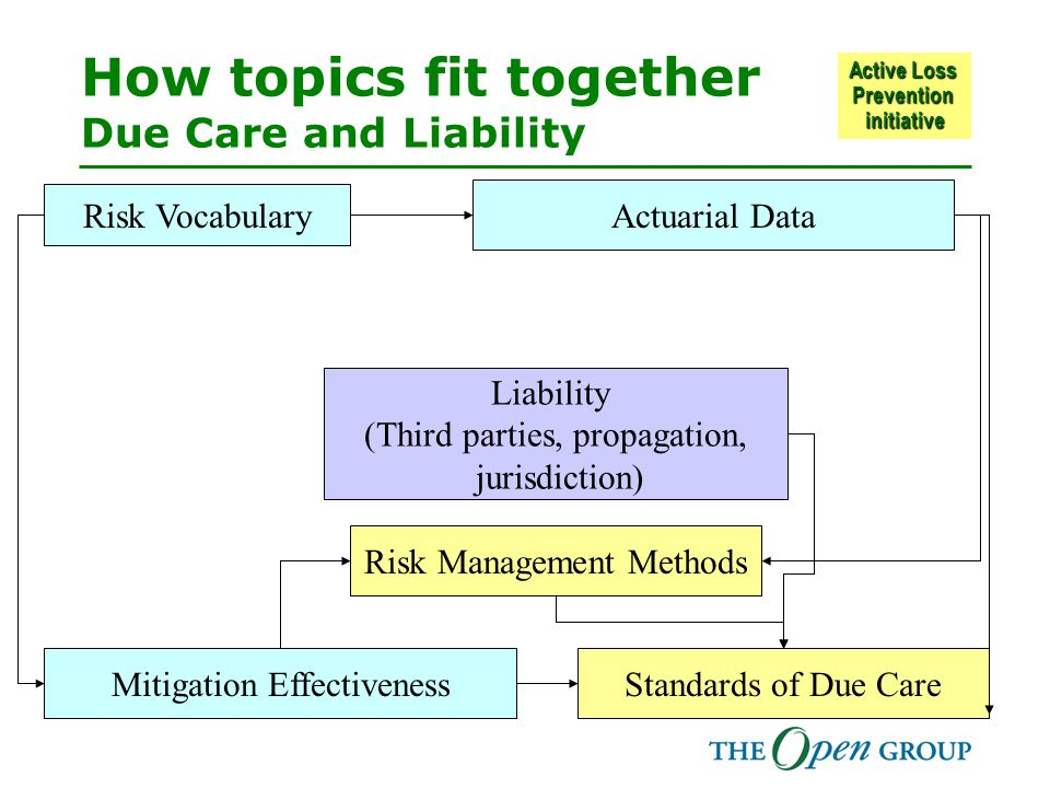 Active Loss Prevention initiative How topics fit together Due Care and Liability Mitigation Effectiveness Actuarial Data Risk Vocabulary Standards of Due Care Risk Management Methods Liability (Third parties, propagation, jurisdiction)