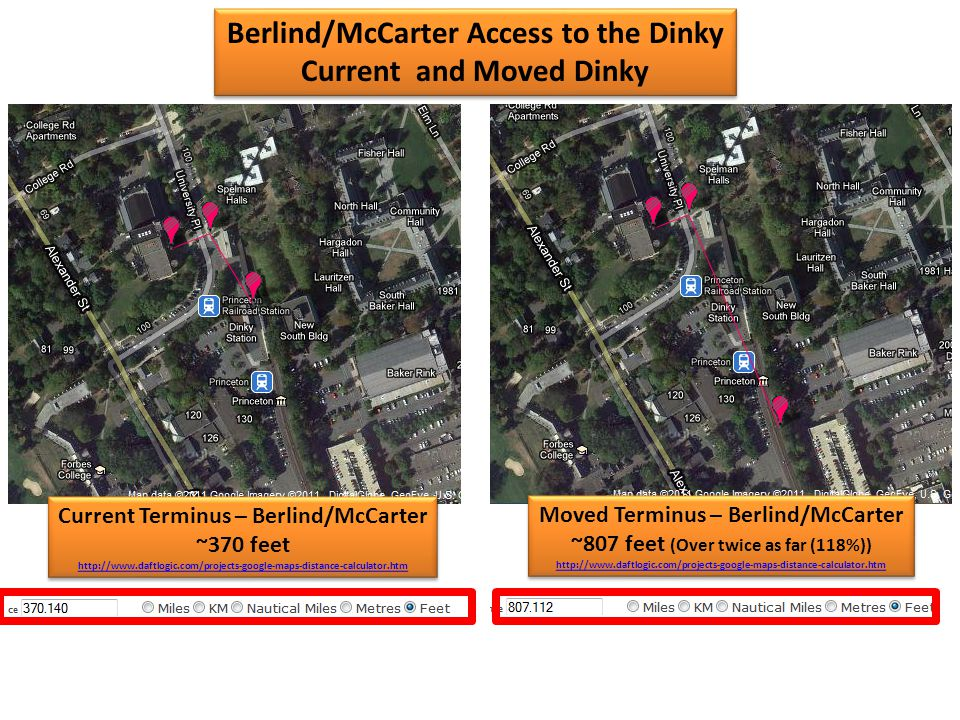 Moved Terminus – Berlind/McCarter ~807 feet (Over twice as far (118%)) http://www.daftlogic.com/projects-google-maps-distance-calculator.htm Moved Terminus – Berlind/McCarter ~807 feet (Over twice as far (118%)) http://www.daftlogic.com/projects-google-maps-distance-calculator.htm Current Terminus – Berlind/McCarter ~370 feet http://www.daftlogic.com/projects-google-maps-distance-calculator.htm Current Terminus – Berlind/McCarter ~370 feet http://www.daftlogic.com/projects-google-maps-distance-calculator.htm Berlind/McCarter Access to the Dinky Current and Moved Dinky Berlind/McCarter Access to the Dinky Current and Moved Dinky