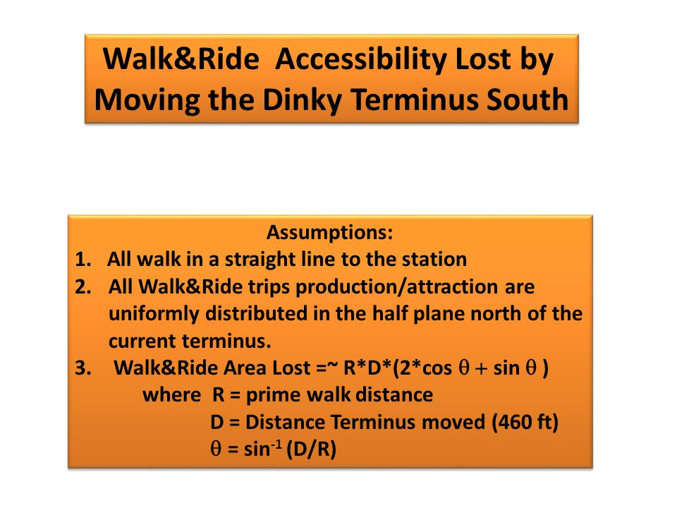 Walk&Ride Accessibility Lost by Moving the Dinky Terminus South Walk&Ride Accessibility Lost by Moving the Dinky Terminus South Assumptions: 1.