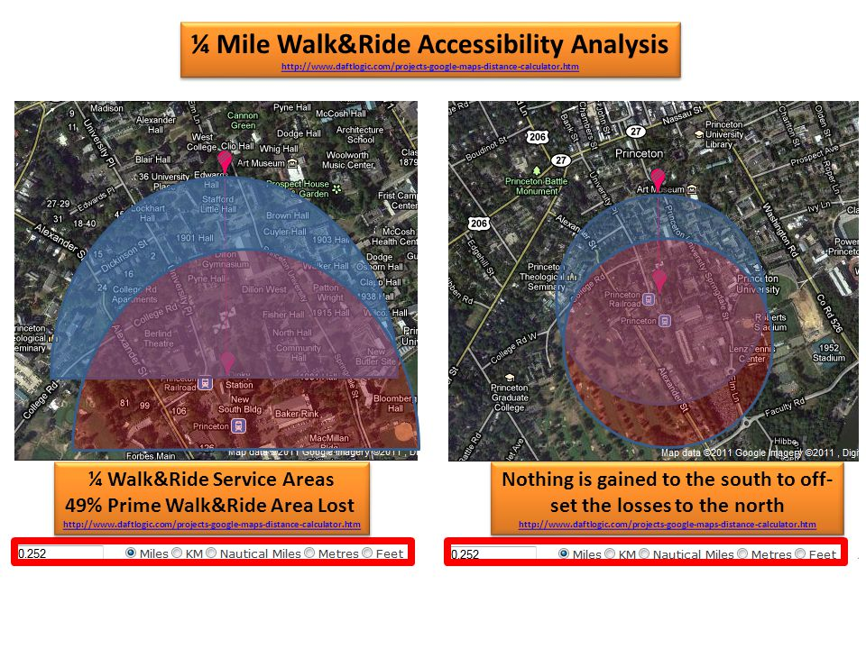¼ Walk&Ride Service Areas 49% Prime Walk&Ride Area Lost http://www.daftlogic.com/projects-google-maps-distance-calculator.htm ¼ Walk&Ride Service Areas 49% Prime Walk&Ride Area Lost http://www.daftlogic.com/projects-google-maps-distance-calculator.htm Nothing is gained to the south to off- set the losses to the north http://www.daftlogic.com/projects-google-maps-distance-calculator.htm Nothing is gained to the south to off- set the losses to the north http://www.daftlogic.com/projects-google-maps-distance-calculator.htm ¼ Mile Walk&Ride Accessibility Analysis http://www.daftlogic.com/projects-google-maps-distance-calculator.htm ¼ Mile Walk&Ride Accessibility Analysis http://www.daftlogic.com/projects-google-maps-distance-calculator.htm