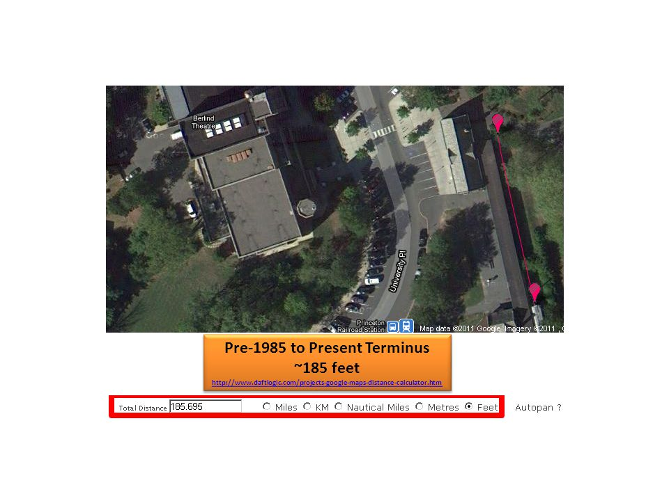 Pre-1985 to Present Terminus ~185 feet http://www.daftlogic.com/projects-google-maps-distance-calculator.htm Pre-1985 to Present Terminus ~185 feet http://www.daftlogic.com/projects-google-maps-distance-calculator.htm