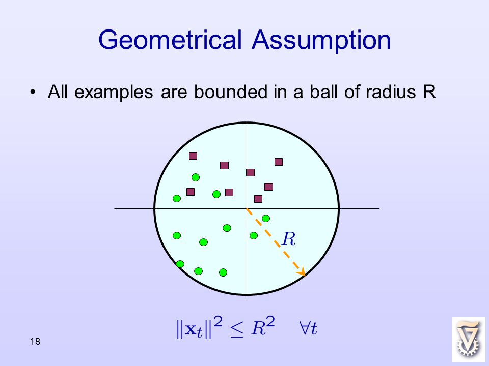 18 Geometrical Assumption All examples are bounded in a ball of radius R