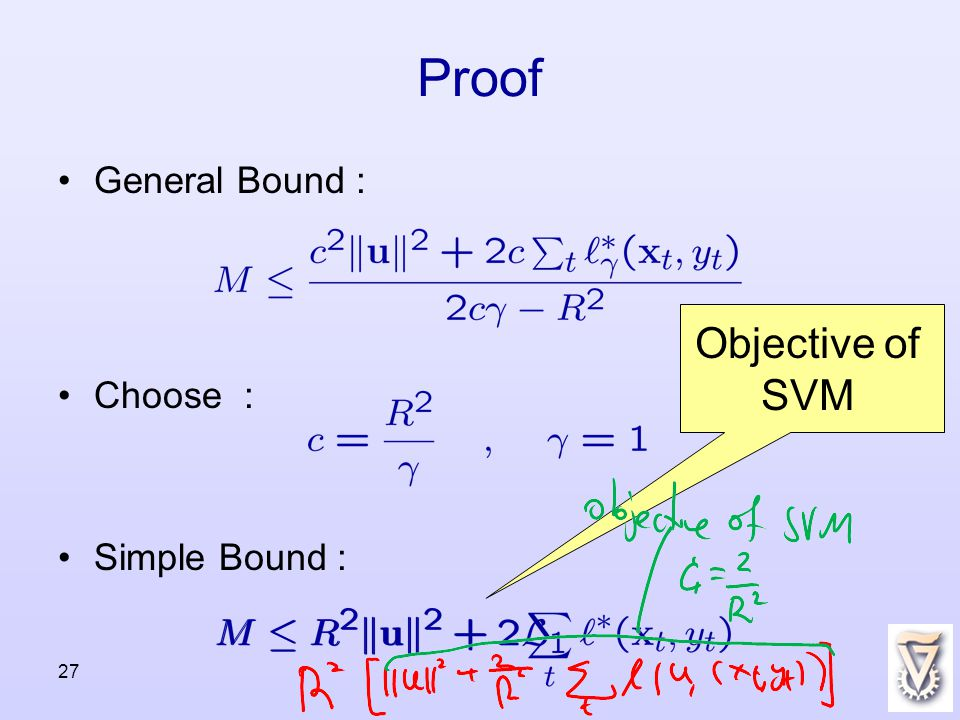 27 Proof General Bound : Choose : Simple Bound : Objective of SVM