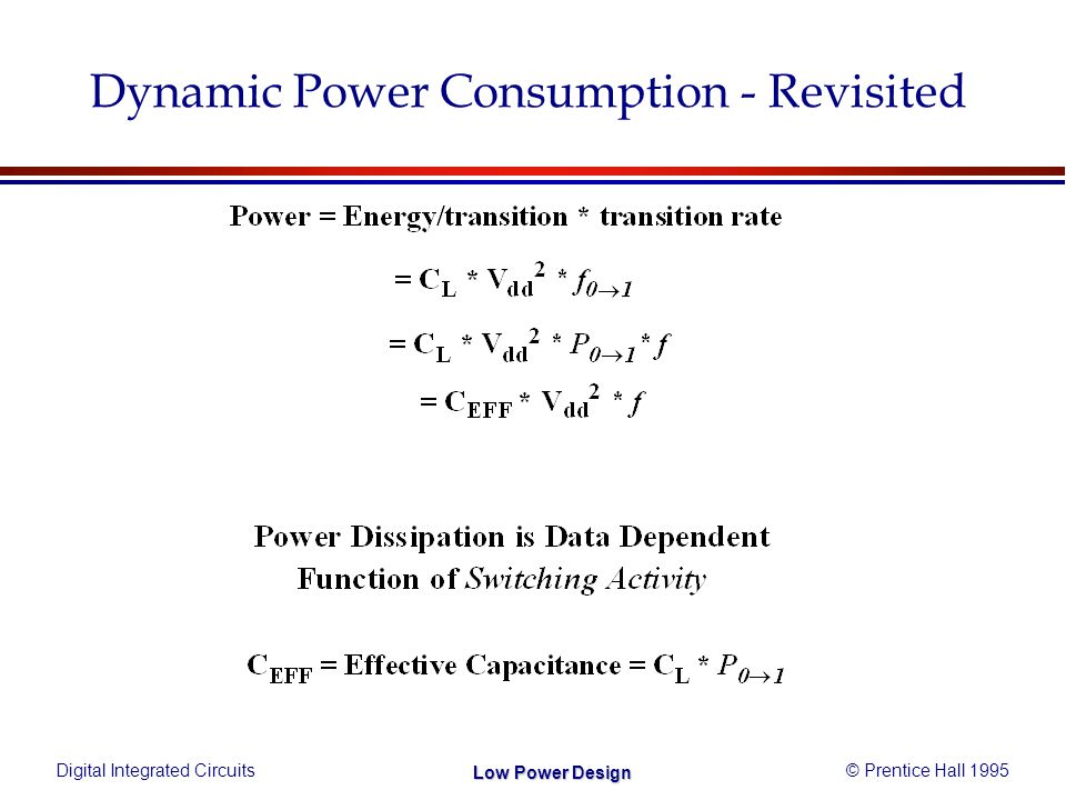 Digital Integrated Circuits© Prentice Hall 1995 Low Power Design Dynamic Power Consumption - Revisited