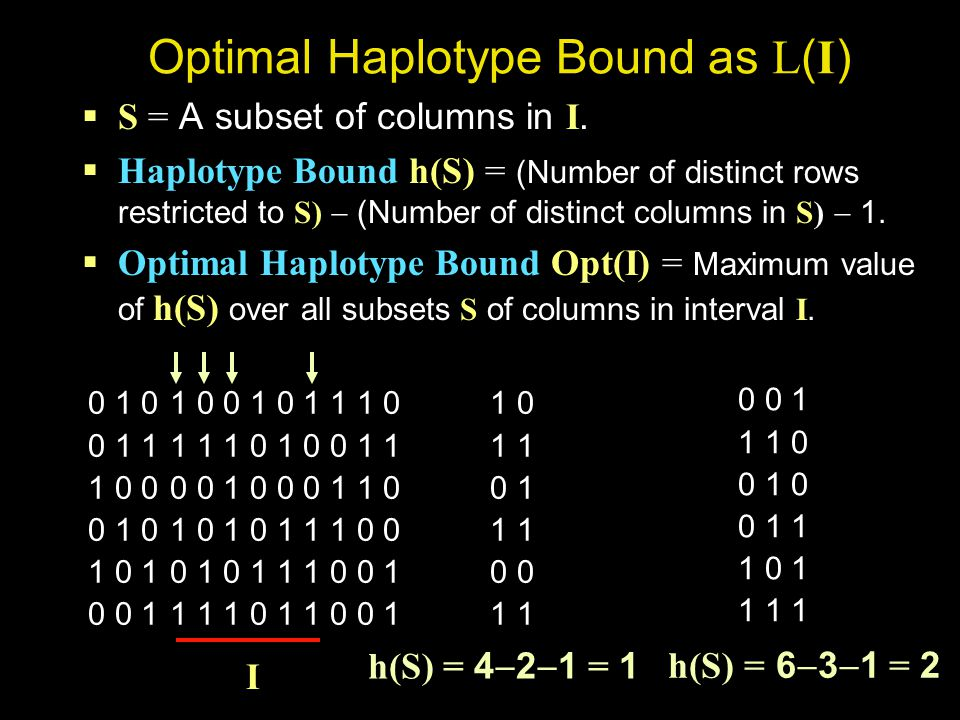 Optimal Haplotype Bound as L ( I )  S = A subset of columns in I.