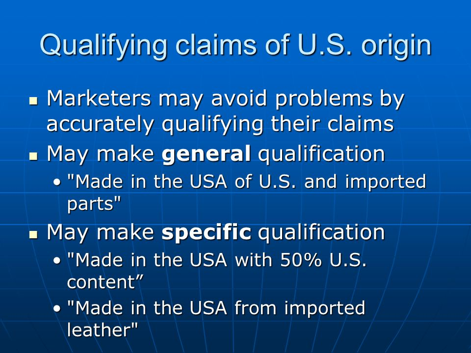 Qualifying claims of U.S.