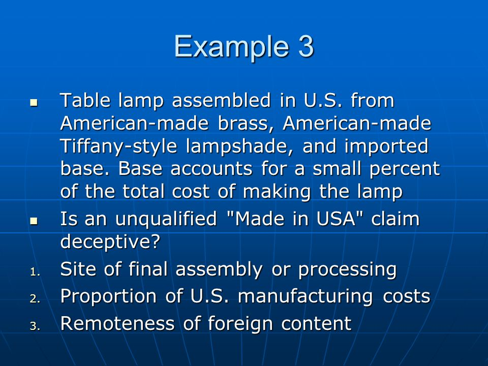 Example 3 Table lamp assembled in U.S.