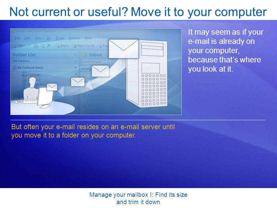 Manage your mailbox I: Find its size and trim it down Not current or useful.