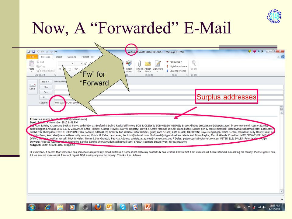 Now, A Forwarded E-Mail Fw for Forward Surplus addresses